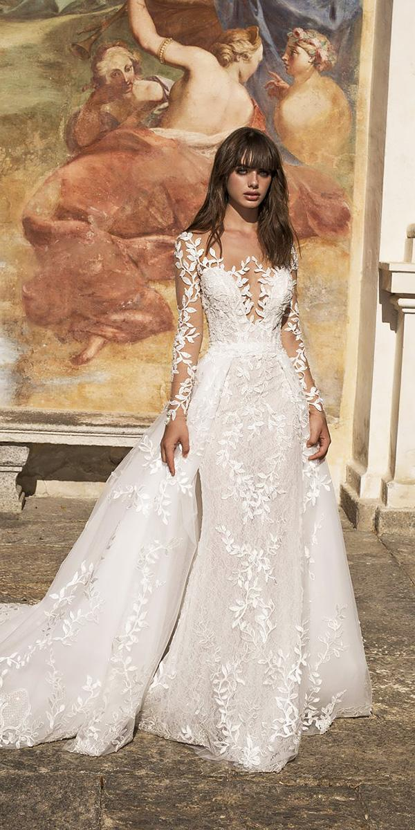 pinella passaro wedding dresses sheath with illusion sleeves floral appliques overskirt