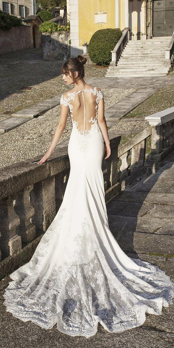 pinella passaro wedding dresses trumpet with cap sleeves tattoo effect back buttons