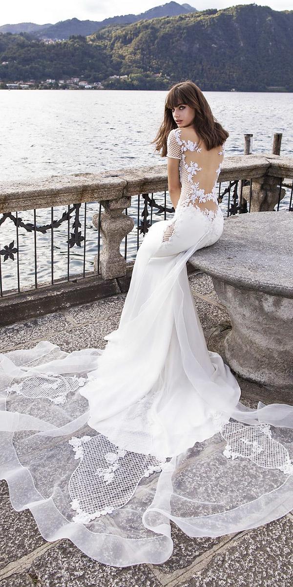 pinella passaro wedding dresses with cap sleeves illusion back train