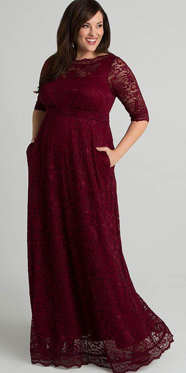 plus size mother of the bride dresses long with sleeves burgundy kiyonna
