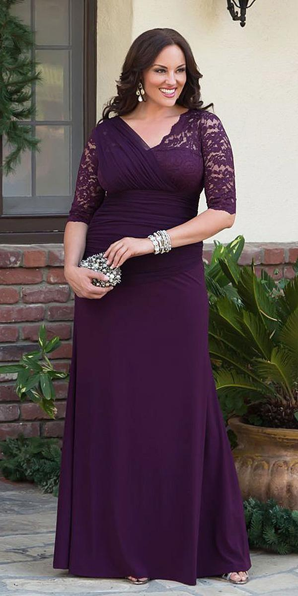plus size mother of the bride dresses long with three quote sleeves lace kiyonna