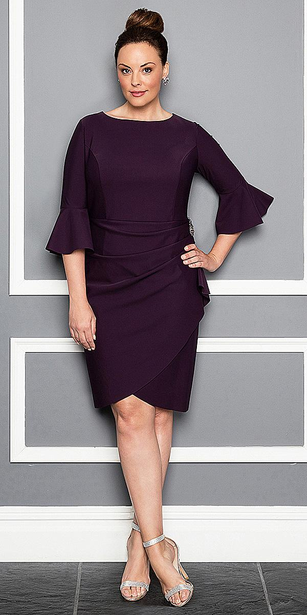 plus size mother of the brid dresses tea length with three quote sleeves simple alex evenings