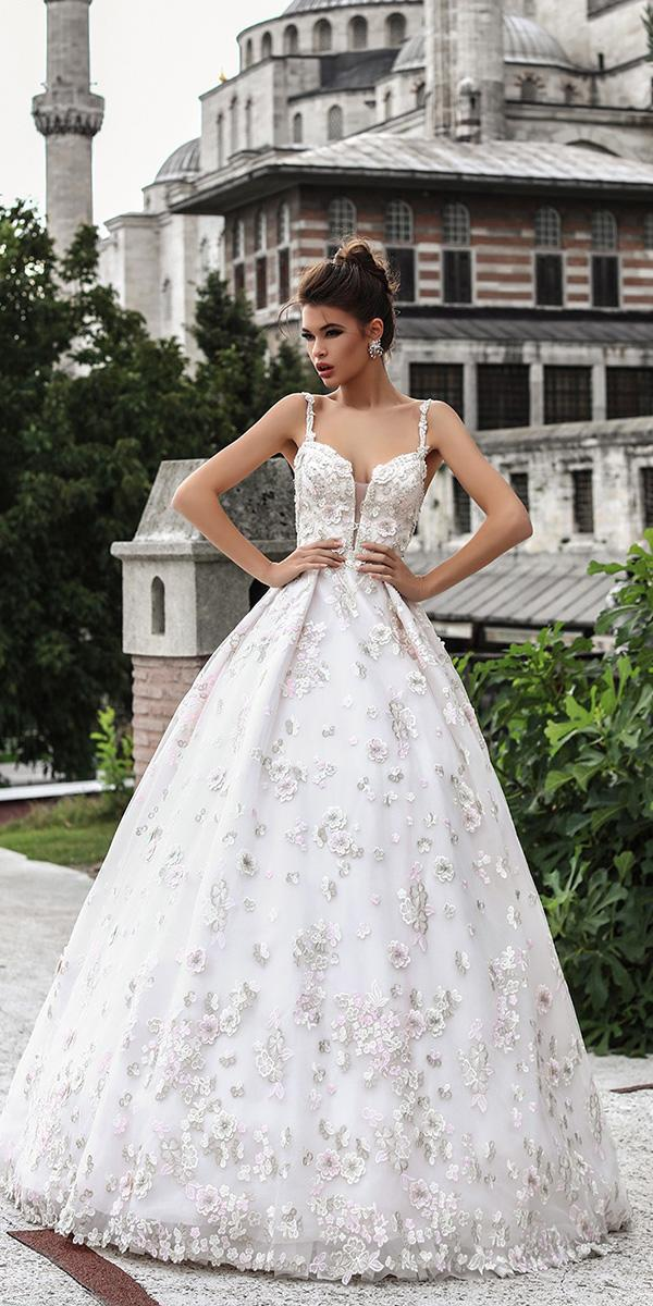 pollardi wedding dresses a line with spaghetti straps v neckline floral appliques