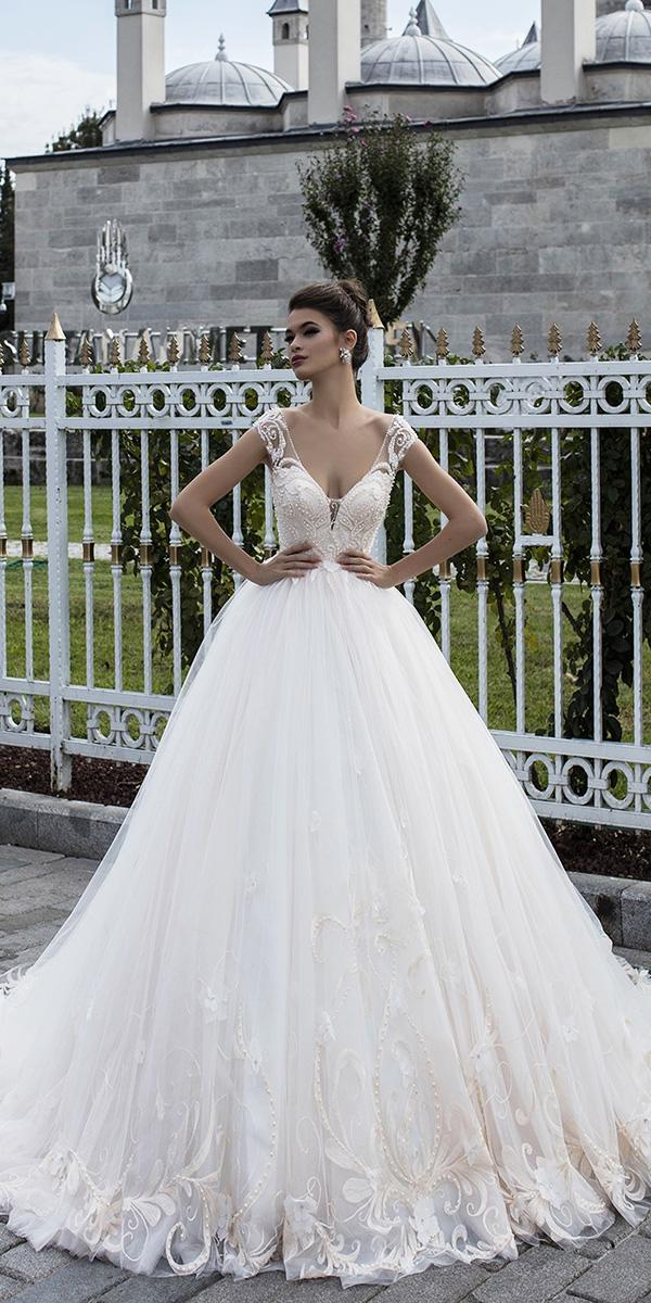 pollardi wedding dresses ball gown beaded top with cap sleeves 2018