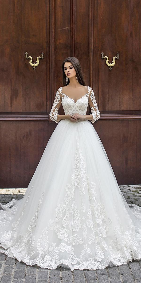 pollardi wedding dresses ball gown with illusion long sleeves sweetheart lace