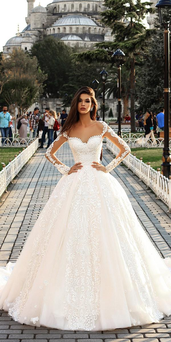 pollardi wedding dresses ball gown with illusion sleeves ivory