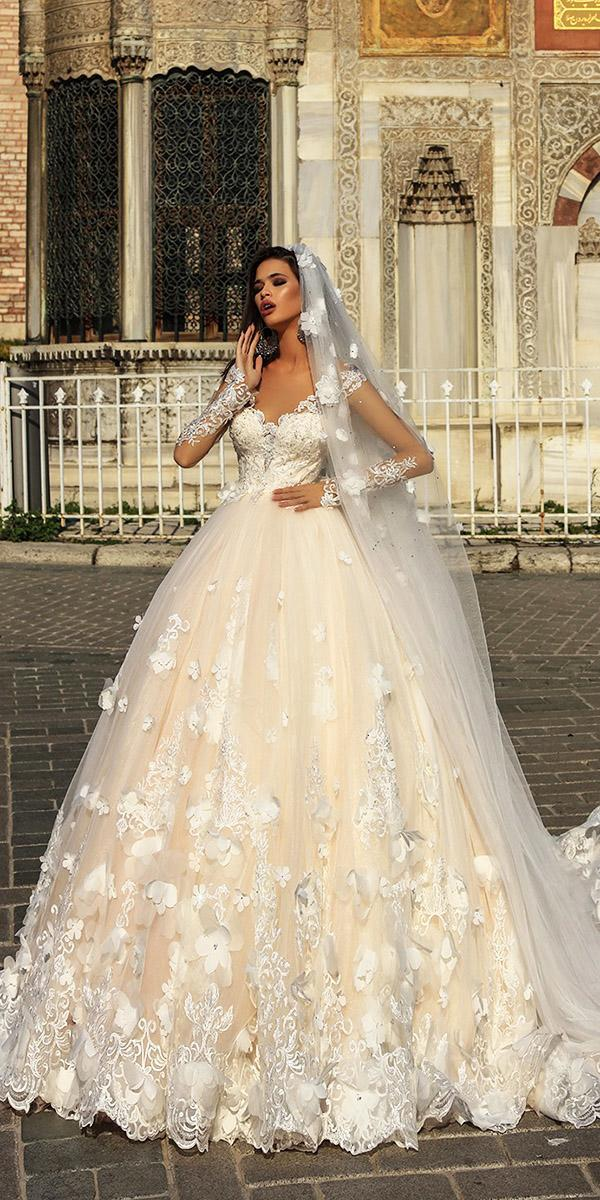 pollardi wedding dresses ball gown with long illusion sleeves flora appliques veil