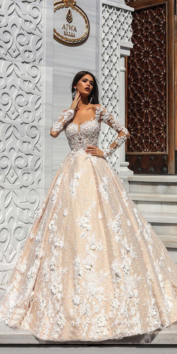 pollardi wedding dresses ball gown with long sleeves floral appliques lace top