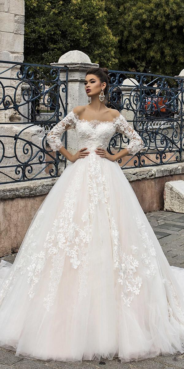 pollardi wedding dresses ball gown with three quote sleeves lace floral appliques