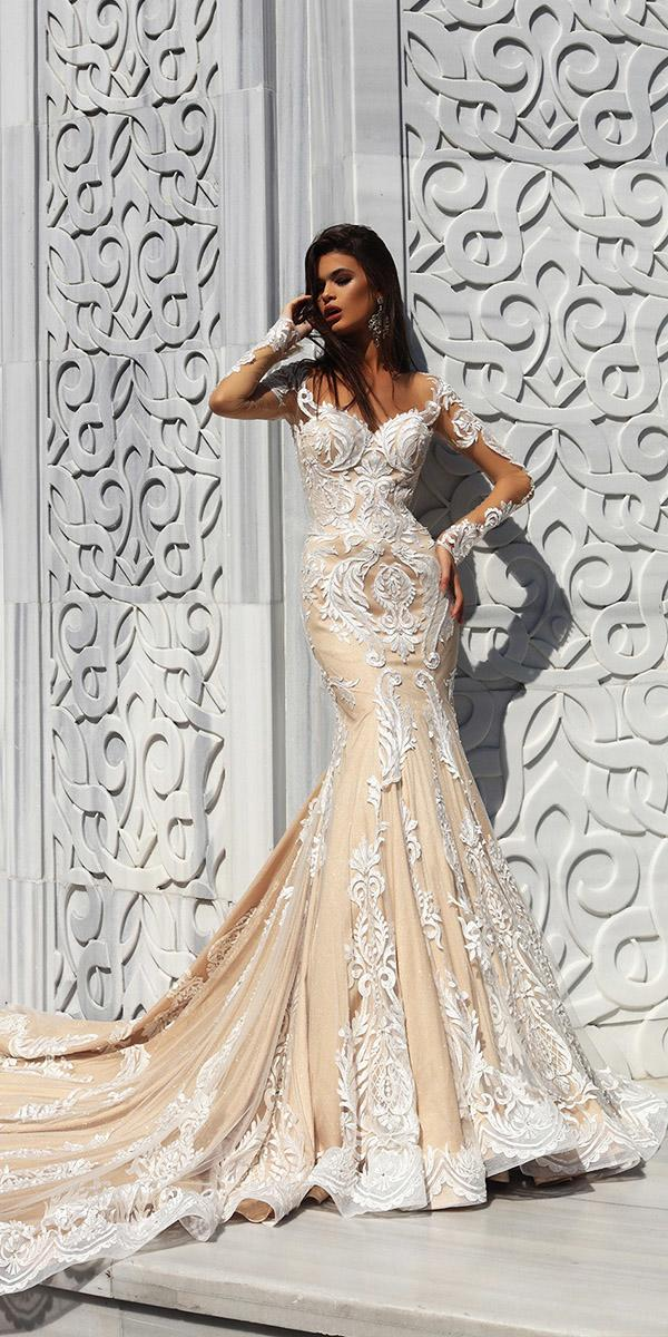 pollardi wedding dresses mermaid with illlusion long sleeves floral appliques champagne