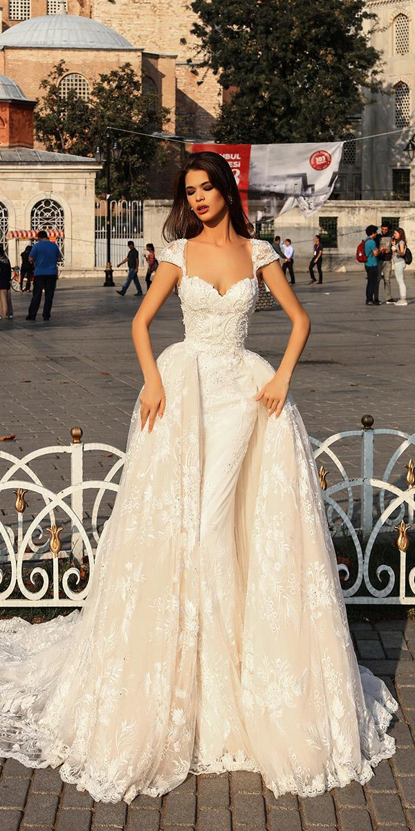 pollardi wedding dresses with cap sleees overskirt champagne