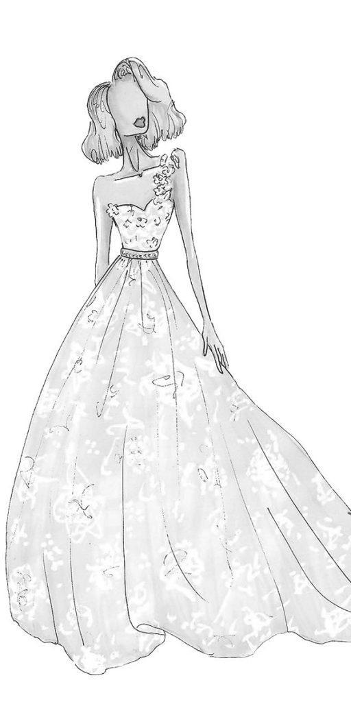 riki dalal wedding dresses a line sweetheart neck one shoulder bridal sketches style olivia