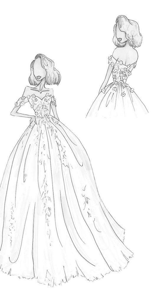 riki dalal wedding dresses bridal sketches a line off the shoulder sweetheart neckline style juliet