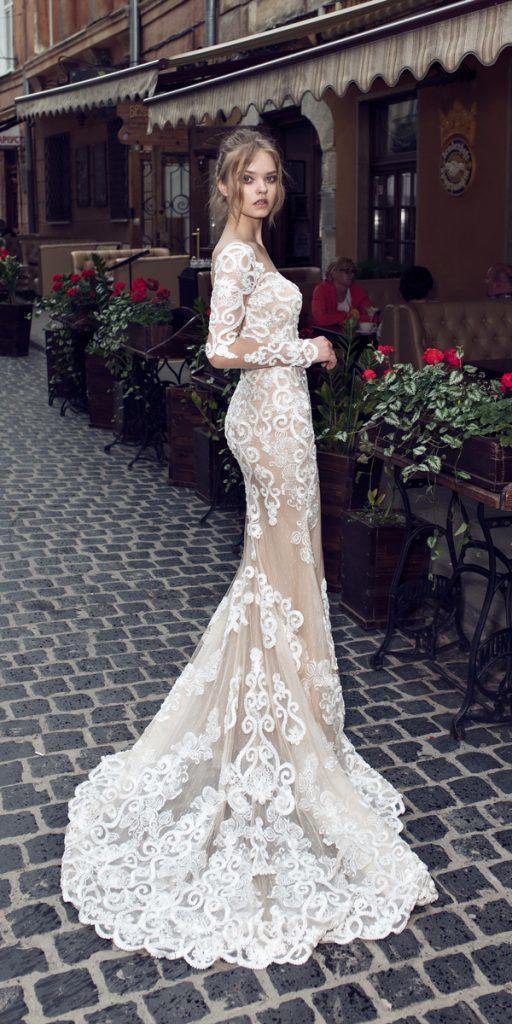 riki dalal wedding dresses lace sheath long sleeves with train style helena