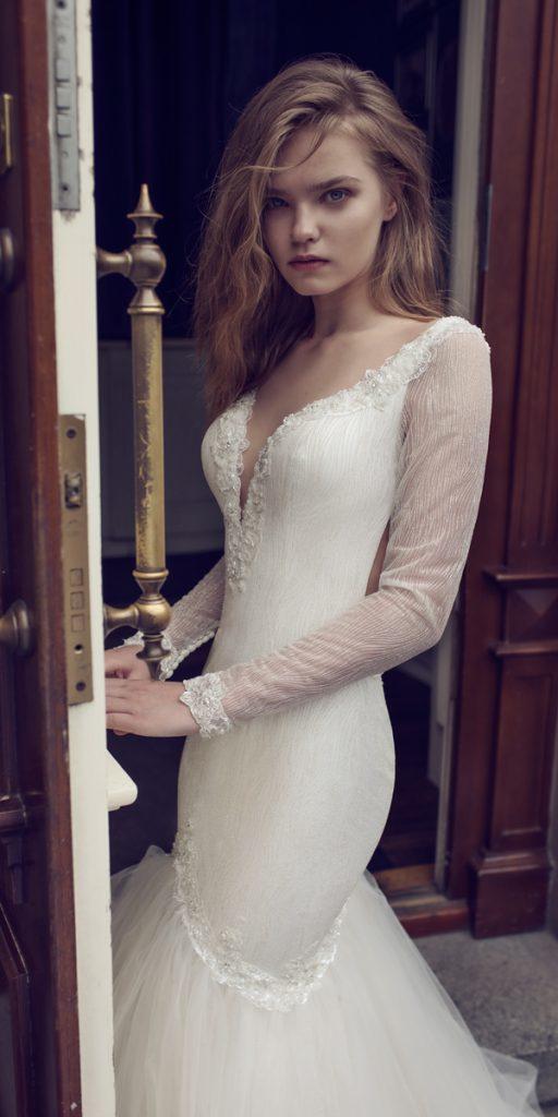 riki dalal wedding dresses mermaid v neckline with long sleeves style bianca