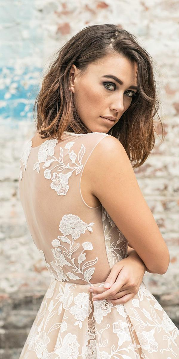 rime arodaky wedding dresses iilusion back floral appliques sleeveless