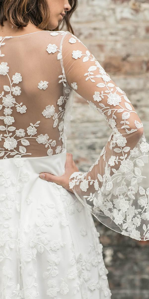 rime arodaky wedding dresses illusion back floral embroidered