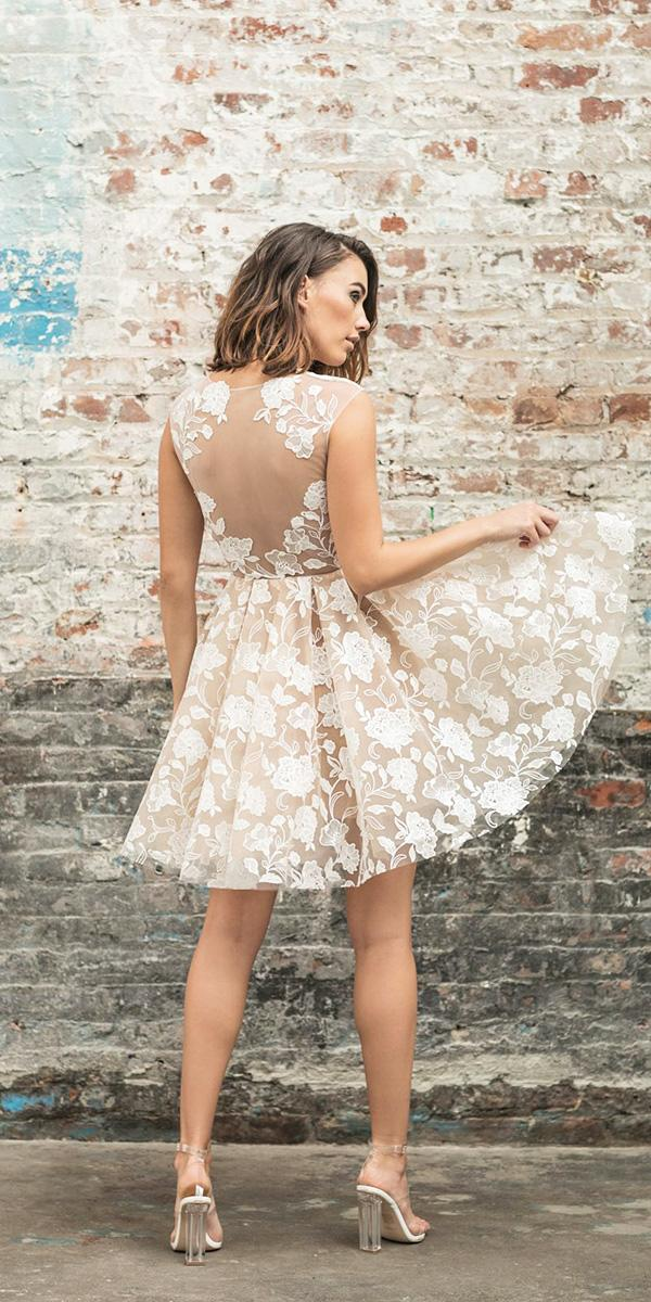 rime arodaky wedding dresses illusion back short skirt blush floral embellishment