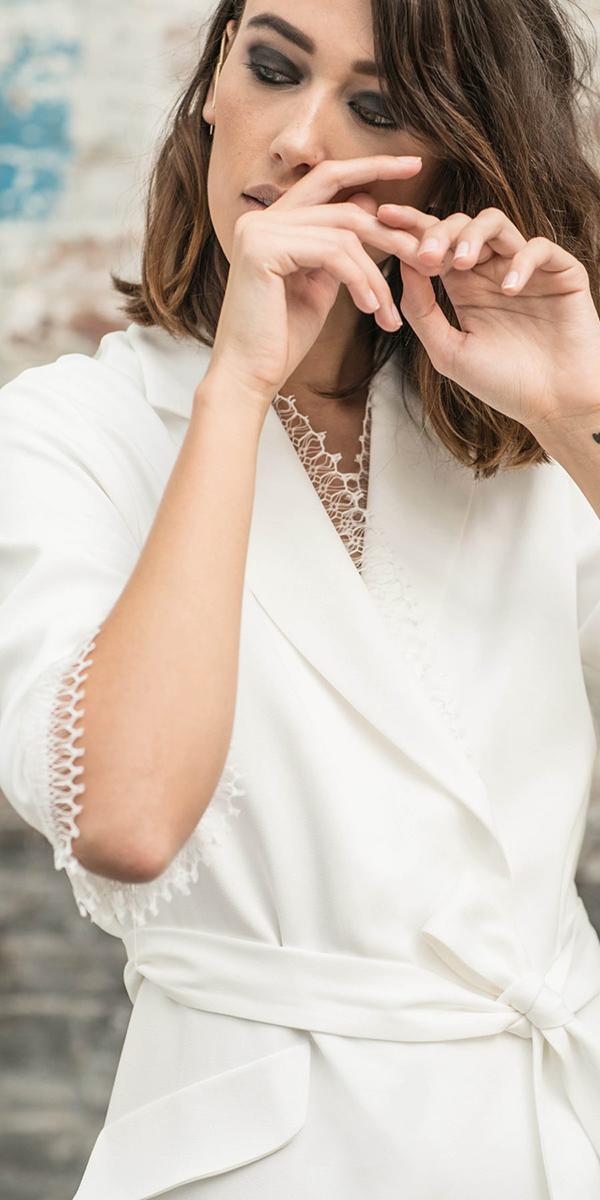 rime arodaky wedding dresses jaccket v neckline details