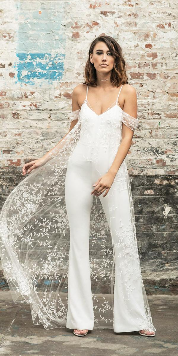 rime arodaky wedding dresses jumpsuits with spaghetti straps floral cape