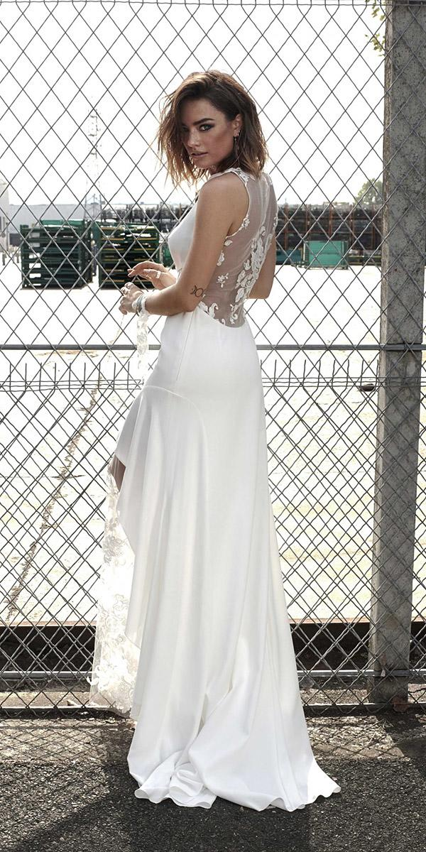 rime arodaky wedding dresses sheath illusion back floral appliques