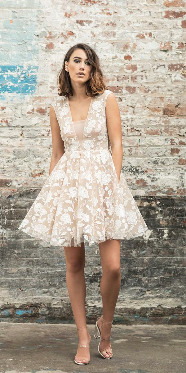 rime arodaky wedding dresses short deep v neckline floral appliques blush