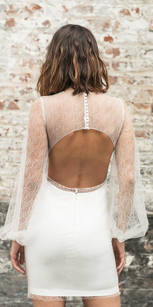 rime arodaky wedding dresses short open back with illusion sleeves