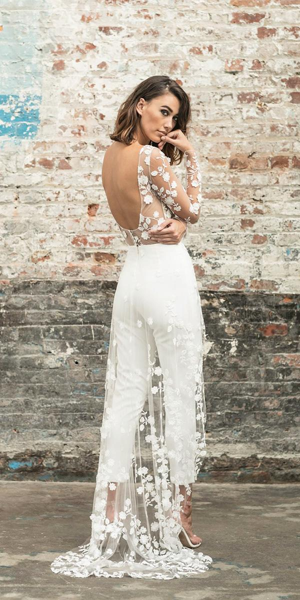 rime arodaky wedding dresses trousers low back floral train with illusion long sleeves