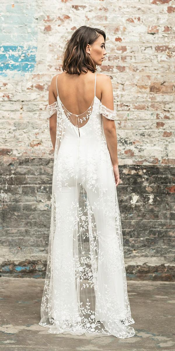 rime arodaky wedding dresses trousers with straps floral flowing cape