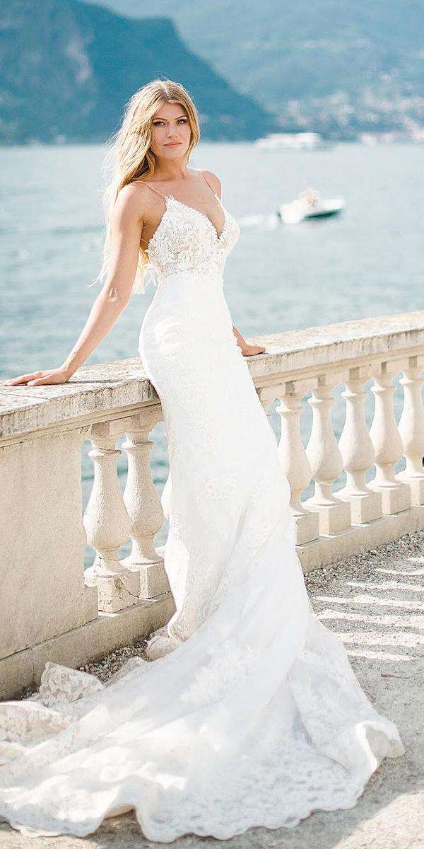 romantic bridal gowns with spaghetti straps beach train olena galaziuk photography