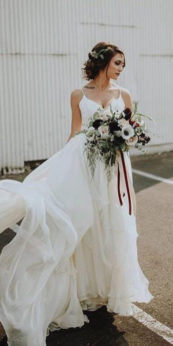 romantic bridal gowns with spaghetti straps simple leanne marshall