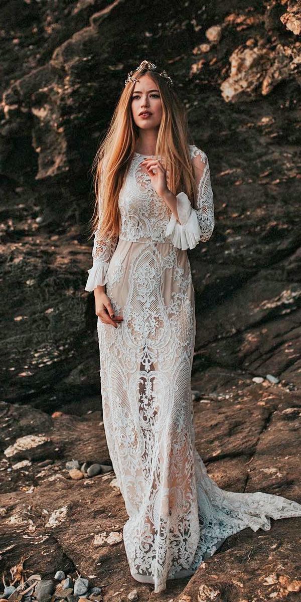 romantic vintage wedding dresses close neckline lace long sleeves sheath immaclenovias