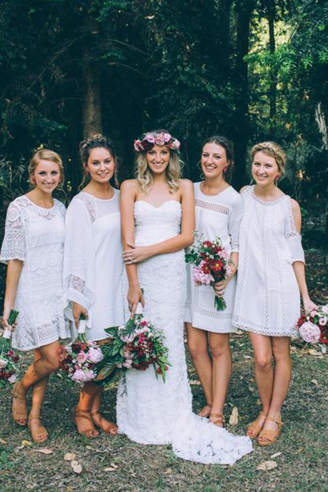 Rustic Bridesmaid Dresses Lace Short White Jennifer Gifford Designs