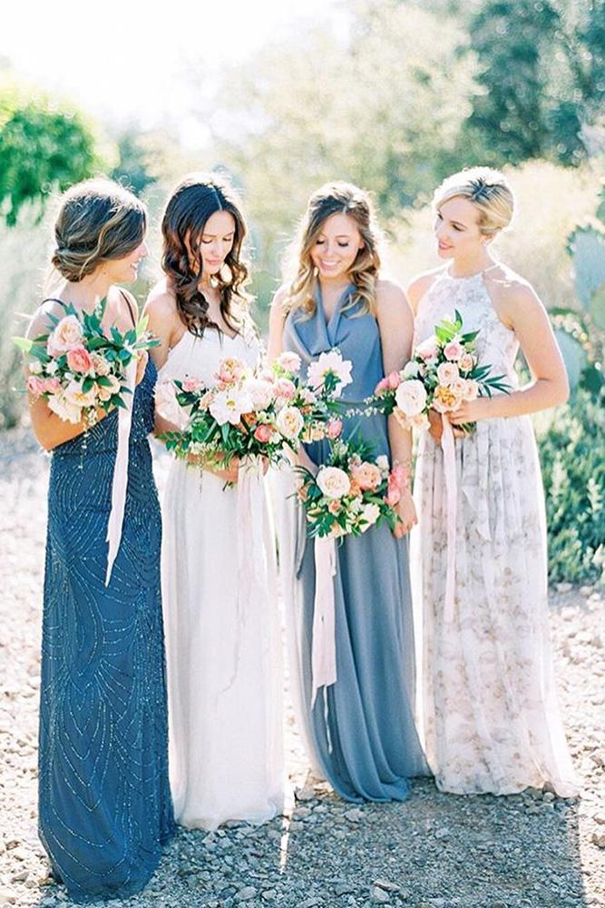 rustic bridesmaid dresses long floral blue donna morgan collection