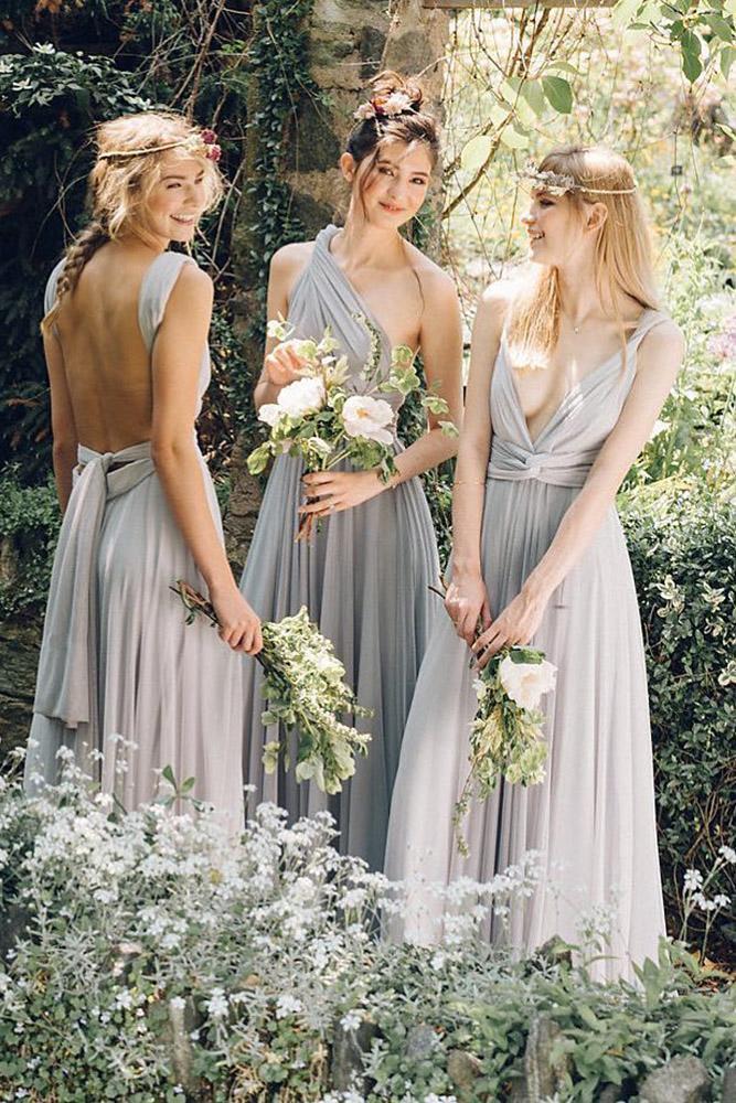 rustic bridesmaid dresses long grey country two birds bridesmaid