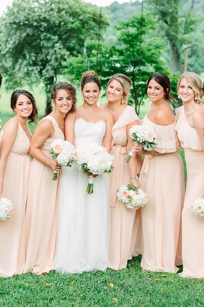 rustic bridesmaid dresses long neutral joanna august