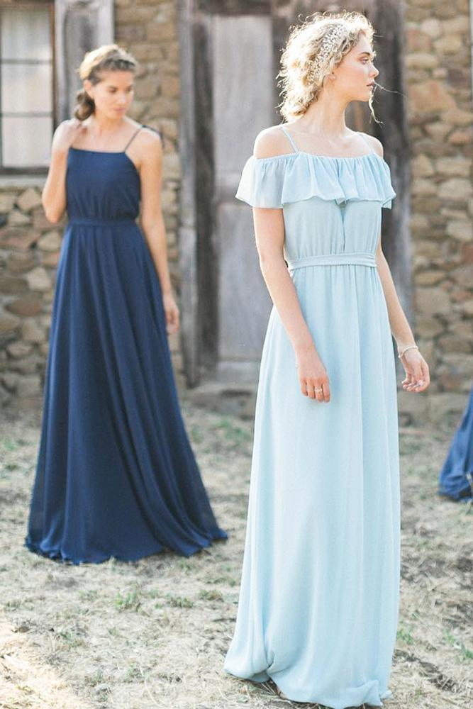 rustic bridesmaid dresses mismatched blue navy joanna august