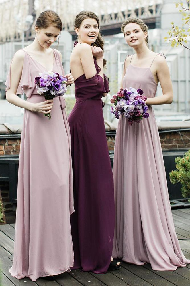 rustic bridesmaid dresses mismatched burgundy purple joanna august