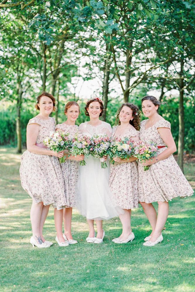 rustic bridesmaid dresses neutral short with floral embellishment theresa furey photography