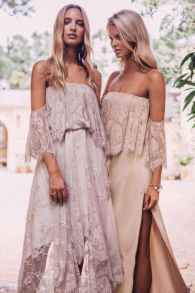rustic bridesmaid dresses off the shoulder lace embellishment straight across grace loves lace