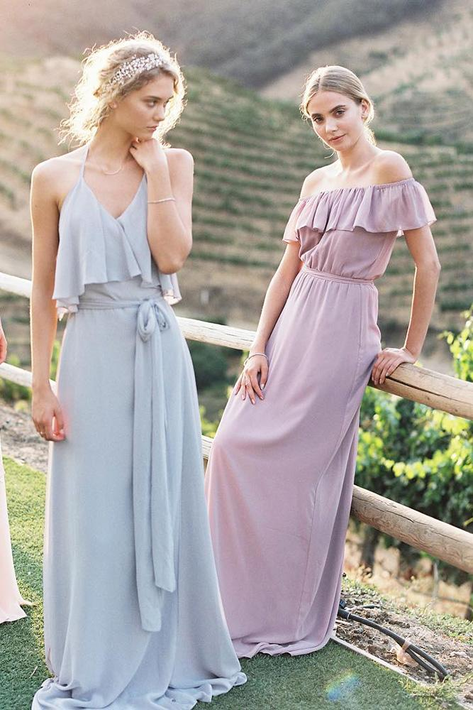 rustic bridesmaid dresses pastel long mismatched joanna august