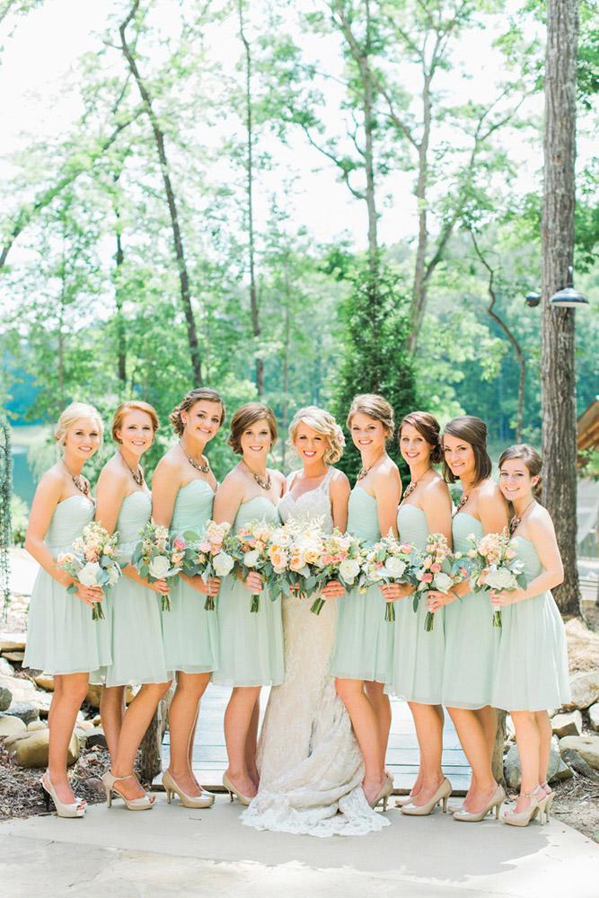 rustic bridesmaid dresses short sweetheart green white photography