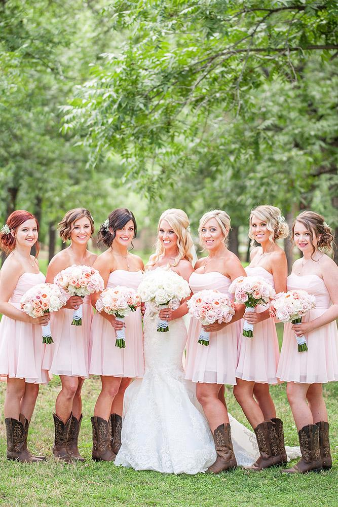 rustic bridesmaid dresses short sweetheart pink with boots drew brashler photography
