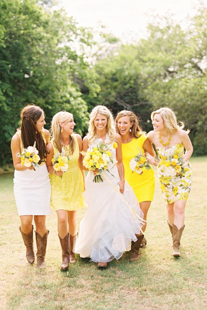 rustic bridesmaid dresses short yellow floral with boots ryan ray