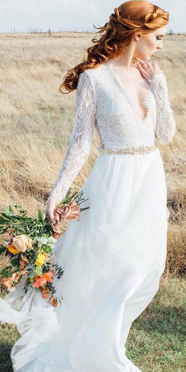 rustic lace wedding dresses a line v neck with long sleeves lace top beaded belt daalarna couture