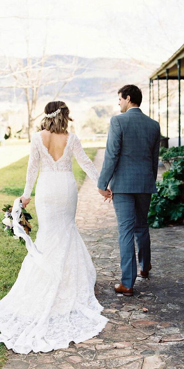 rustic lace wedding dresses mermaid with long sleeves v back country goddess by nature