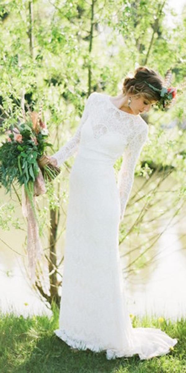 rustic lace wedding dresses sheath with long sleeves full lace embellishment mary moon photography