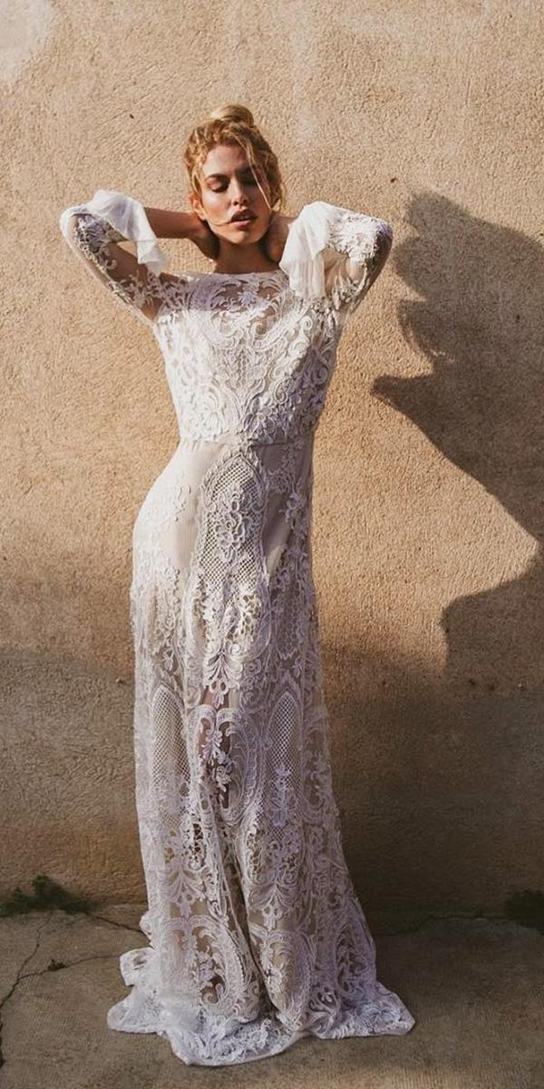 rustic lace wedding dresses sheath with sleeves vintage immacle novia