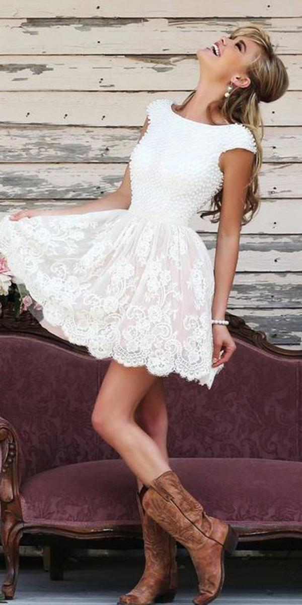 rustic lace wedding dresses short skirt with cap sleeves boots sherri hill
