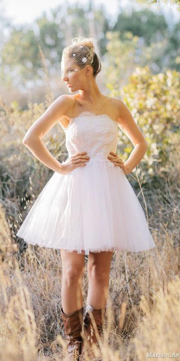 rustic lace wedding dresses straight across short tulle skirt with boots maricol aparigio